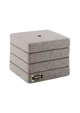 By KlipKlap - Mattress - KK 4 fold w. buttons - Multi grey w. grey buttons