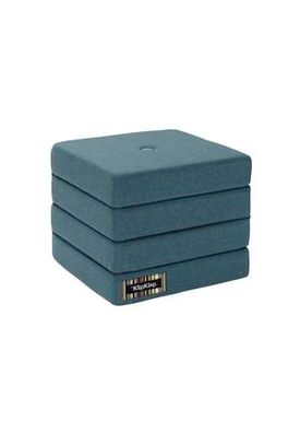 By KlipKlap - Mattress - KK 4 fold w. buttons - Dusty blue w. blue buttons