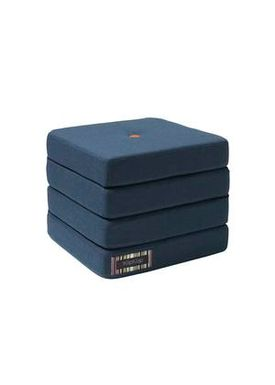 By KlipKlap - Mattress - KK 4 fold w. buttons - Dark blue w. orange buttons