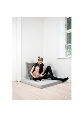 By KlipKlap - Mattress - KK Square - Velvet argent grey w dark grey buttons