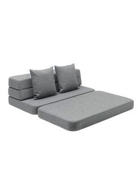 By KlipKlap - Sofa - KK 3 fold sofa w. buttons - Blue grey w grey buttons