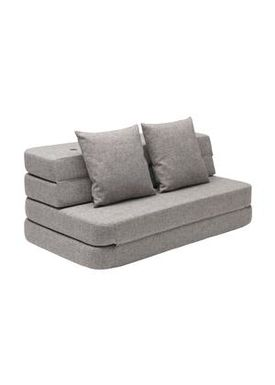 By KlipKlap - Sofa - KK 3 fold sofa w. buttons - Multi grey w grey buttons