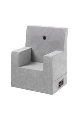 By KlipKlap - Stol - KK Kids Chair - Velvet argent grey 709 w dark grey buttons