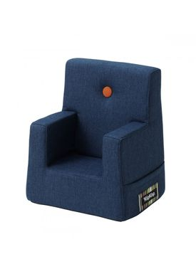 By KlipKlap - Stol - KK Kids Chair - Dark blue 90 w orange buttons