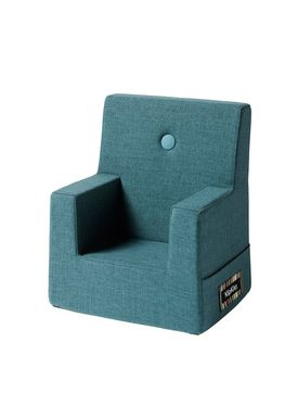 By KlipKlap - Stol - KK Kids Chair - Dusty blue 940 w blue buttons