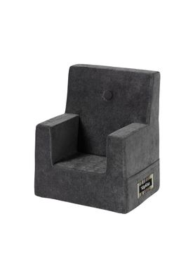 By KlipKlap - Stol - KK Kids Chair XL - Velvet anthracite grey 754 w dark grey buttons