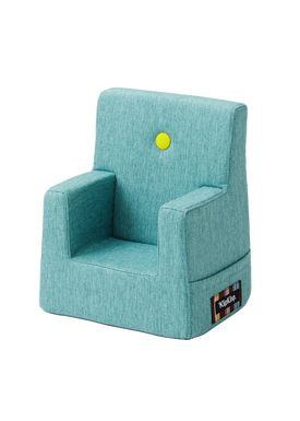 By KlipKlap - Stol - KK Kids Chair XL - Turqouise 200 w yellow buttons