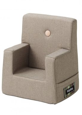 By KlipKlap - Stol - KK Kids Chair XL - Warm grey 20 w light peach buttons