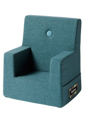 By KlipKlap - Stol - KK Kids Chair XL - Dusty blue 940 w blue buttons