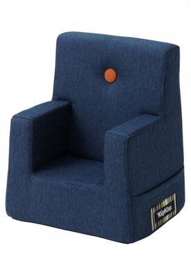 By KlipKlap - Stol - KK Kids Chair XL - Dark blue 90 w orange buttons