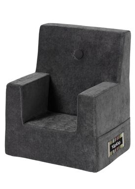 By KlipKlap - Chair - KK Kids Chair - Velvet anthracite grey 754 w dark grey buttons