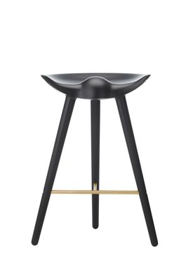 By Lassen - Chair - ML 42 Bar Stool - Low - Black Stained Beech/Brass