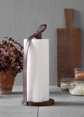 By Wirth - Papertowel Holder - Hands On - Brown Leather/Smoked