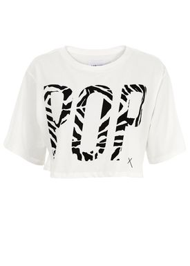 POP cph - Top - Cropped POP Tee - Hvid m. Print