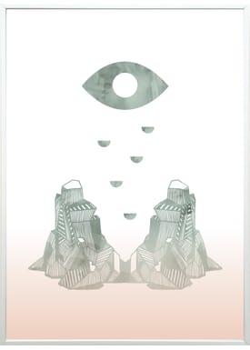 Kristina Dam - Poster - Eye + Mountain A3 - Tie Dye Print