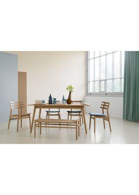 FDB Møbler / Furniture - Bänk - J83B by Jørgen Bækmark - Black Beech/Black Wicker