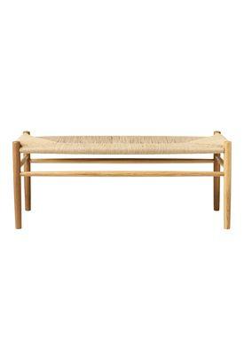 FDB Møbler / Furniture - Bänk - J83B by Jørgen Bækmark - Nature Oak/Nature Wicker