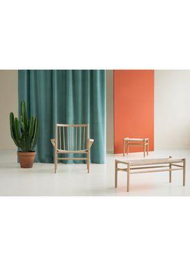FDB Møbler / Furniture - Bänk - J83B by Jørgen Bækmark - Black Beech/Nature Wicker