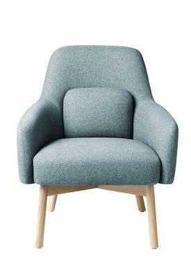 FDB Møbler / Furniture - Lounge Chair - L33 Gesja by Foersom & Hiort-Lorenzen - Oak / Textile - Natural / Petroleum blue