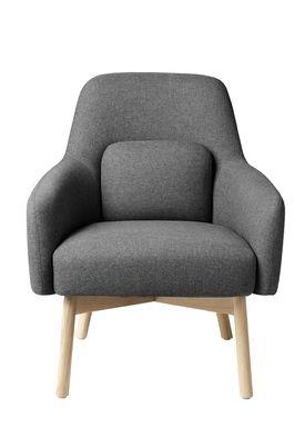 FDB Møbler / Furniture - Lounge Chair - L33 Gesja by Foersom & Hiort-Lorenzen - Oak / Textile - Natural / Grey