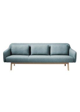 FDB Møbler / Furniture - Couch - L34 Gesja by Foersom & Hiort-Lorenzen - Oak / Textile - Natural / Petroleum blue