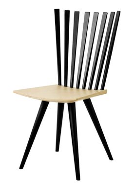 FDB Møbler / Furniture - Stol - J152 Mikado stol af Foersom & Hiort-Lorenzen - Bøg / Ben og ryg i sort / Sæde i natur