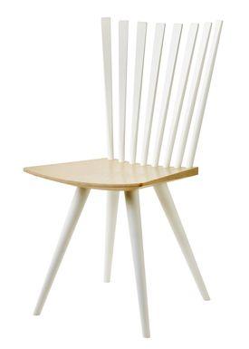 FDB Møbler / Furniture - Stol - J152 Mikado stol af Foersom & Hiort-Lorenzen - Bøg / Ben og ryg i hvid / Sæde i natur