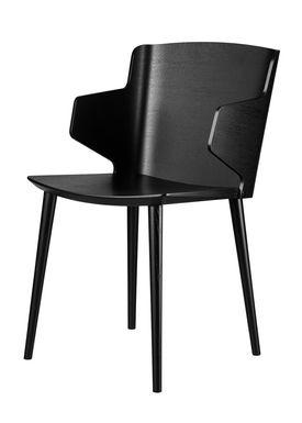 FDB Møbler / Furniture - Stol - J155 Yak af Tom Stepp - Bøg / Sort / Med armlæn
