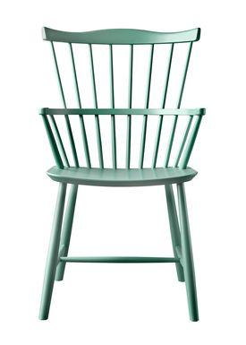 FDB Møbler / Furniture - Stol - J52B af Børge Mogensen - Bøg / Støvet grøn / Lakeret