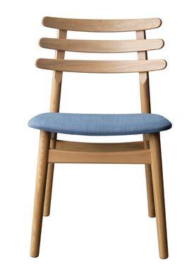 FDB Møbler / Furniture - Stol - J48 af Poul M. Volther - Eg / Gråblå