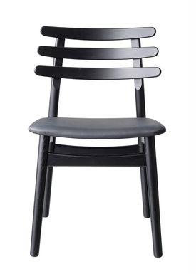 FDB Møbler / Furniture - Stol - J48 af Poul M. Volther - Eg / Sort læder / Sortlakeret