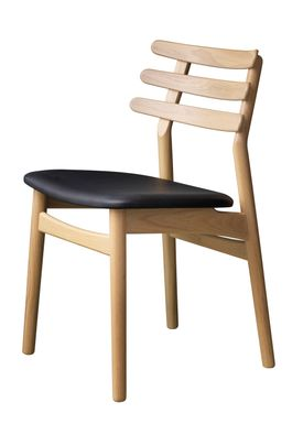 FDB Møbler / Furniture - Stol - J48 af Poul M. Volther - Eg / Sort læder