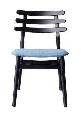 FDB Møbler / Furniture - Stol - J48 af Poul M. Volther - Eg / Sortlakeret / Gråblå