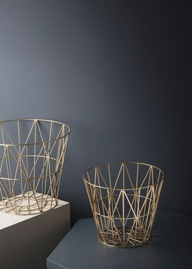 Ferm Living - Kurv - Wire Basket - Medium - Brass