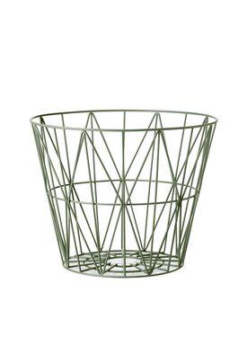 Ferm Living - Kurv - Wire Basket - Medium - Støvet Grøn