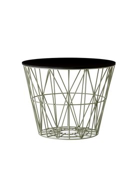 Ferm Living - Kurv - Wire Basket - Small - Støvet Grøn