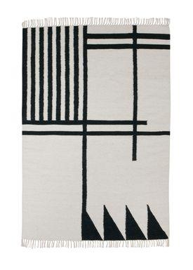 Ferm Living - Carpet - Kelim Rug- Black Lines - Large