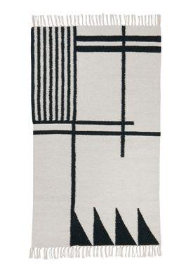 Ferm Living - Tæppe - Kelim Rug- Black Lines - Small