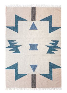Ferm Living - Tæppe - Kelim Rug- Blue Triangles - Large