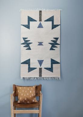 Ferm Living - Carpet - Kelim Rug- Blue Triangles - Small