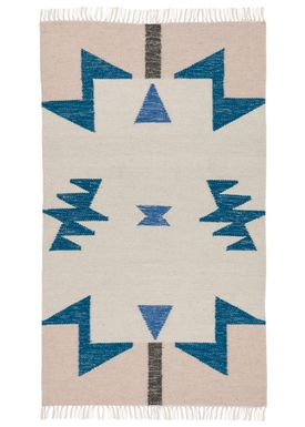 Ferm Living - Tæppe - Kelim Rug- Blue Triangles - Small