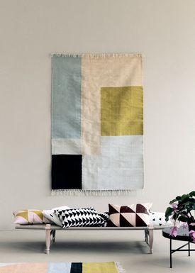 Ferm Living - Tæppe - Kelim Rug- White Lines - Small