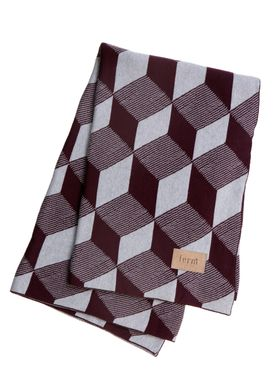 Ferm Living - Tæppe - Square Blanket - Bordeaux/Grå