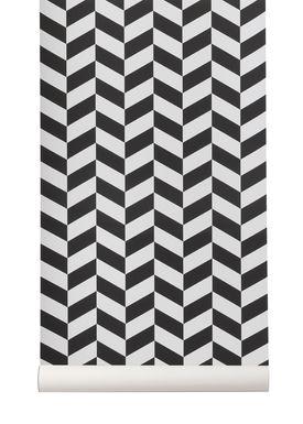Ferm Living - Tapet - Angle Wallpaper - Sort
