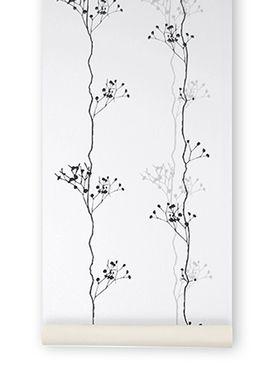 Ferm Living - Tapet - Berry Black Wallpaper - Sort/Hvid/Sølv