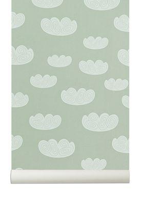 Ferm Living - Tapet - Cloud Wallpaper - Mint/Hvid