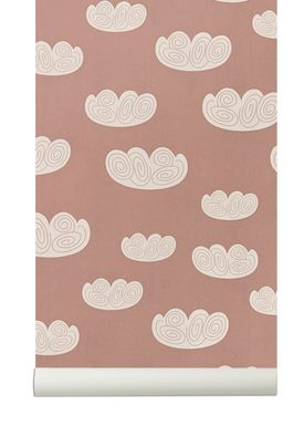 Ferm Living - Tapet - Cloud Wallpaper - Rosa/Hvid