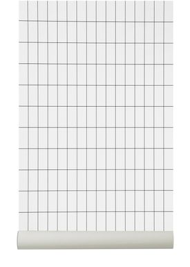 Ferm Living - Tapet - Grid Wallpaper - Hvid/Sort