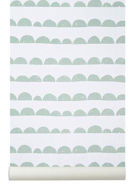 Ferm Living - Tapet - Halfmoon Wallpaper - Mint/Hvid
