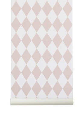 Ferm Living - Tapet - Harlequin Wallpaper - Rosa